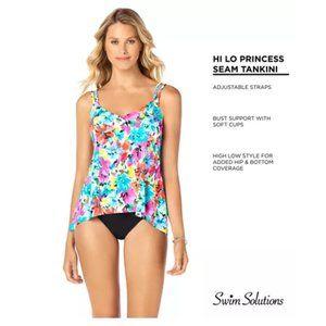 Swim Solutions Printed Princess-Seam Tankini